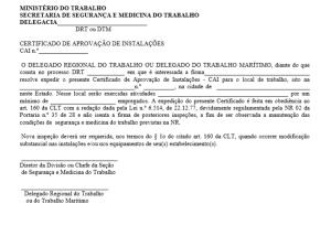 Certificado de Aprovação das Instalações