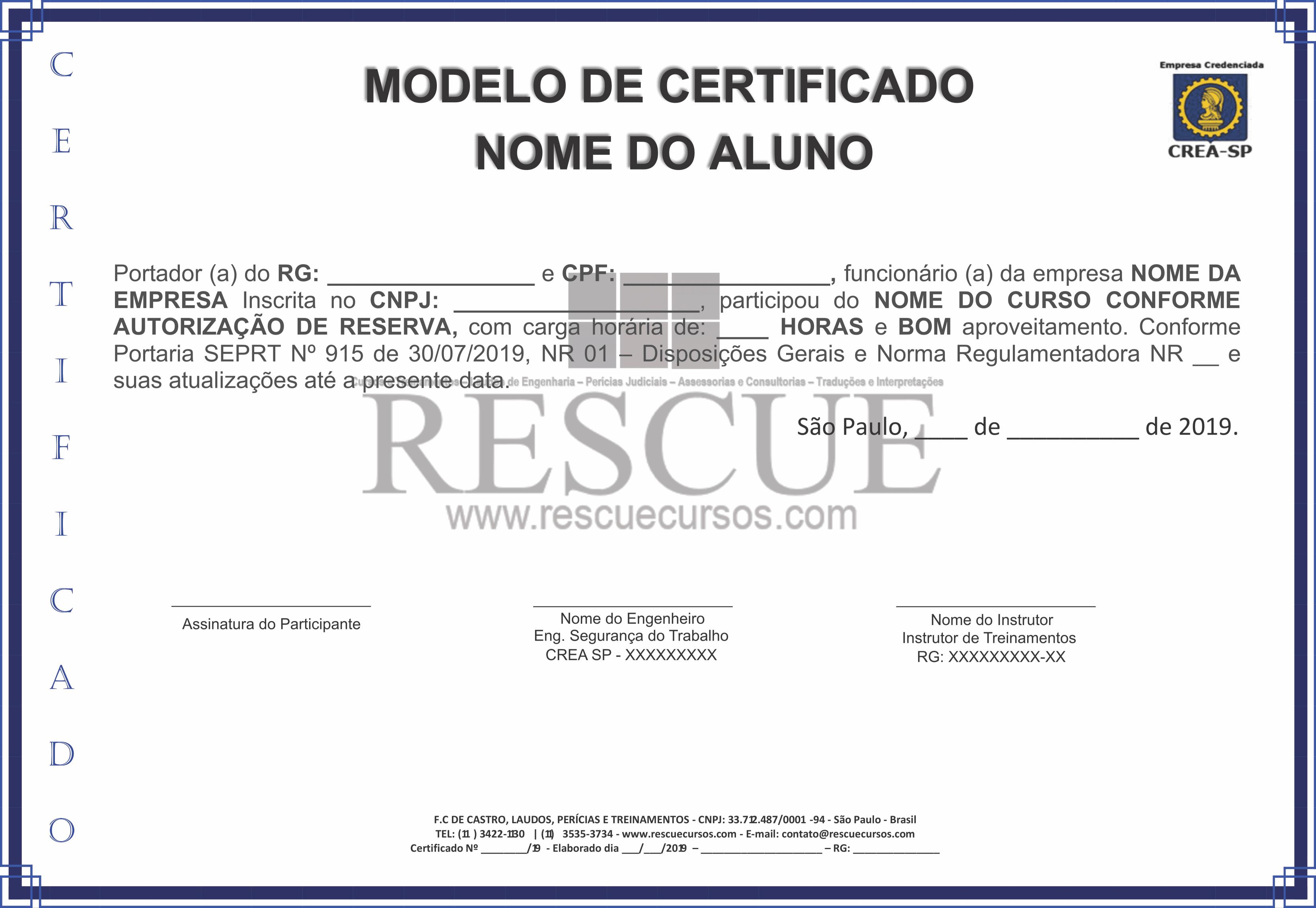 Critérios Para Certificados De Capacitação Rescue Cursos