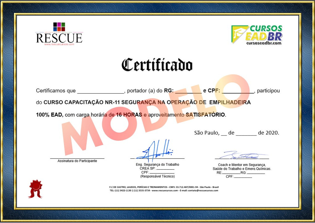 Frente Certificado Curso de Empilhadeira