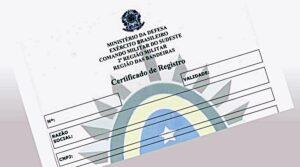 Certificado de Registro do Exército – CR: CR do exército