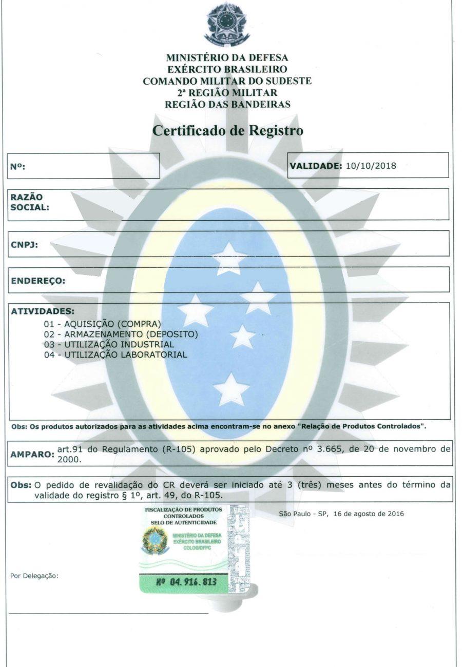 Certificado de Regitro CR Exèrcito Brasileiro